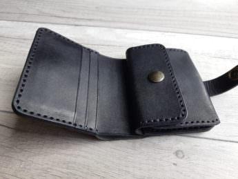 Портмоне из натуральной кожи с монетницей Black 9x10,5 см